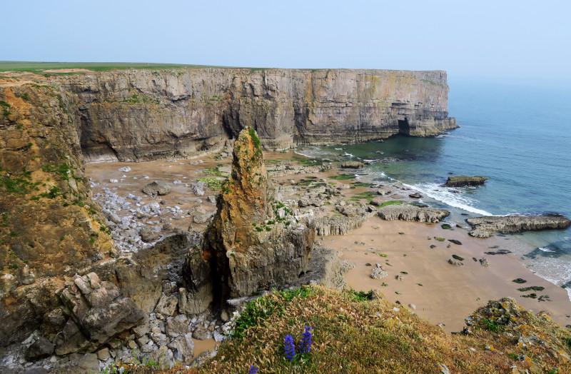 Senkrecht abfallende Klippe an der rauen Küste von Pembrokeshire